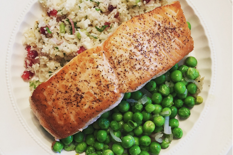 Salmon with Cauliflower Tabouleh