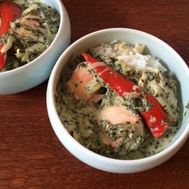 Poached Fish in Sorrel Coconut Sauce