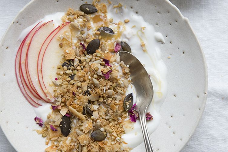 Coconut Buckwheat Granola with Rose Petals