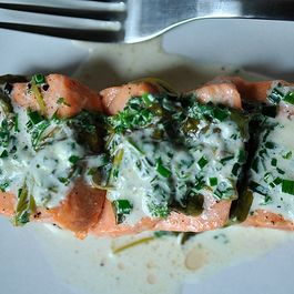 Salmon w/sorrel, chervil, chives by BarnOwlBaker