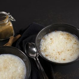Creamy rice pudding with vanilla