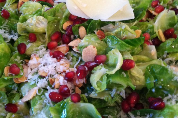 BRUSSELS SPROUT SALAD WITH POMEGRANATE SEEDS, PECORINO CHEESE, AND ...
