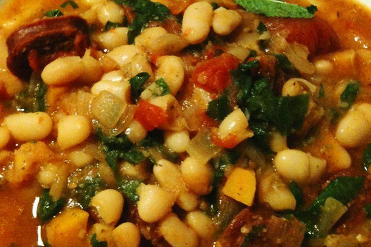 White Bean Lamb Kielbasa Stew over Polenta
