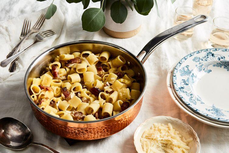 Pasta with Pecorino, Guanciale & Black Pepper (Mezze Maniche alla Gricia)
