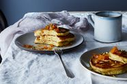 Ricotta and Brown Butter Pancakes with Maple-Bourbon Apricots