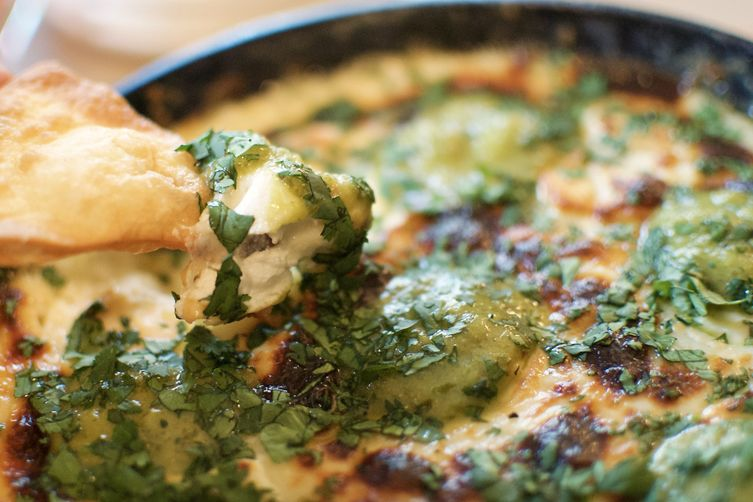 Bobby Flay's Queso Fundido with Roasted Poblano Vinaigrette