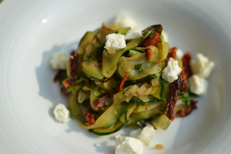 Zucchini Ribbons with Goat Cheese & Infused Herb Chilli Oil