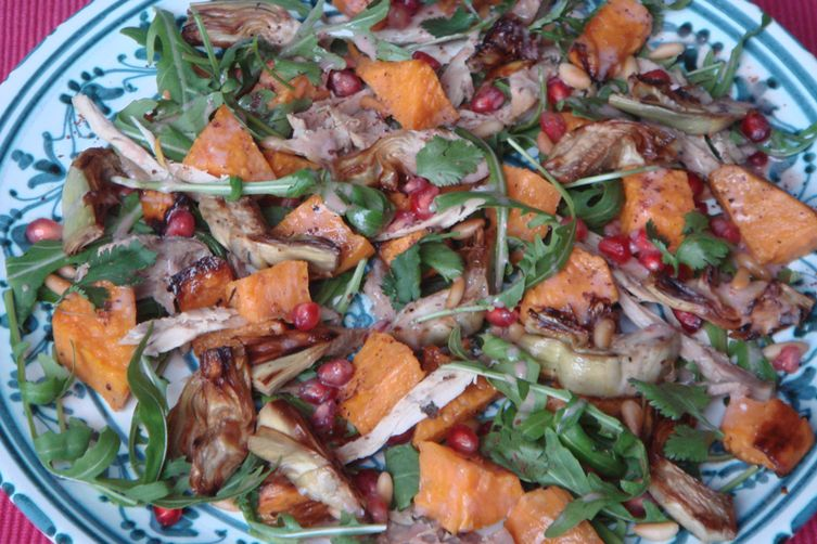 Autumn Salad with Artichokes, Sweet Potato, Arugula and Pomegranate
