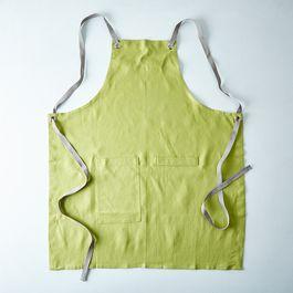 Fern Green Cross-Back Kitchen Apron with Slate Ties