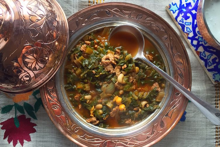 BORANi ( Minced Meat Stew with Chard & Black-eyed Peas