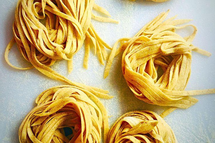 Cinnamon Tagliatelle with Stracciatella di Bufula & Spinach