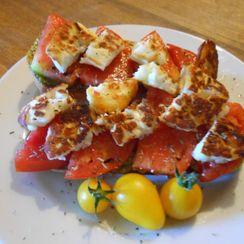 Tomato and halloumi toastie