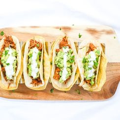 CHIPOTLE JACKFRUIT TACOS WITH SIMPLE GUAC AND LEMON ORANGE CREMA