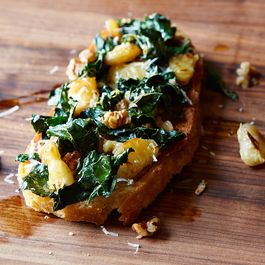 Image result for bruschetta with beans and greens