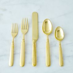 Brass Florentine Flatware (5 Piece Set)