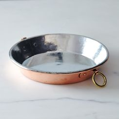 Vintage Copper English Round Gratin Pie Plate, Late 19th Century