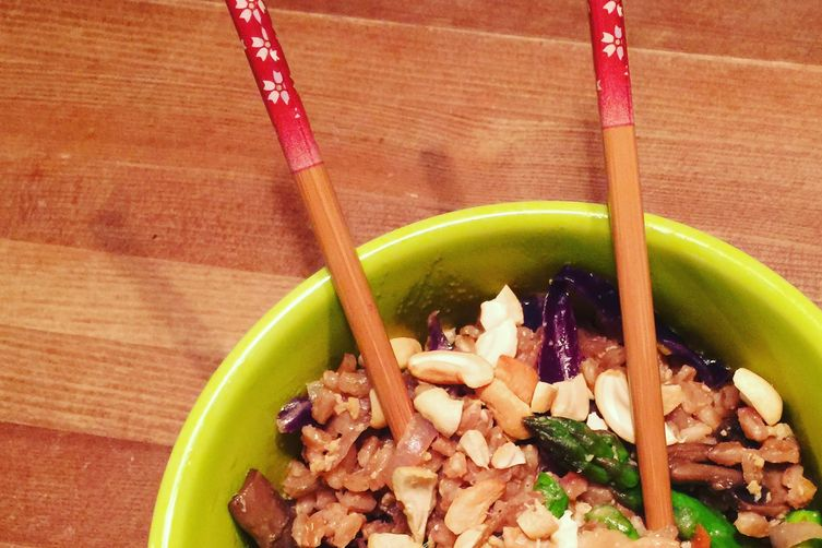 Farro and Vegetable stir fry with chicken
