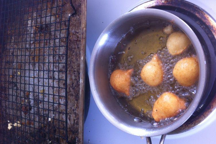 Ricotta Fritters w: Burnt Honey, Orange Salt, Pistachios & Bee Pollen