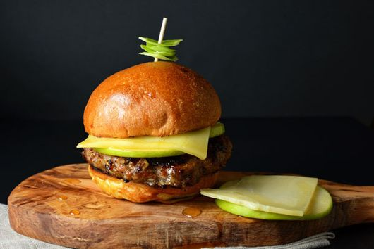 Maple Apple Glazed Pork and Leek Burgers