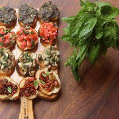BRUSCHETTA PLATTER (with tomato & basil, mushroom & thyme, olive-caper tapenade,