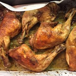 Over-roasted chicken leg quarters