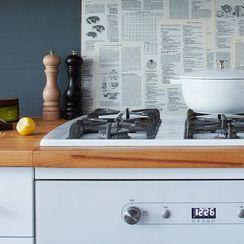 A Renter-Friendly Backsplash to Make from a Vintage Cookbook