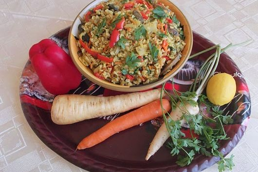 Pearl Barley or Brown Rice, Bacon, and Root Vegetable Pilaf
