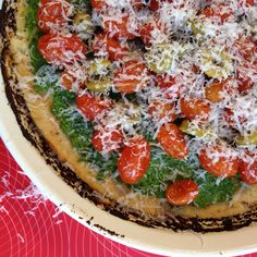 Gluten Free Cauliflower Kale Pesto Pizza