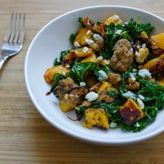 Roasted Butternut Squash, Kale, Sausage, Blue Cheese and Walnuts