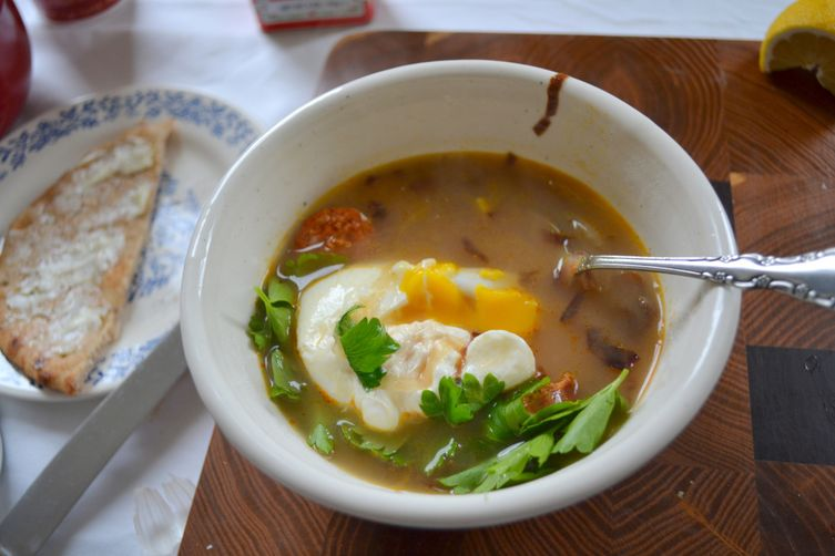 yellow potato soup with purple cabbage and chorizo + poached egg