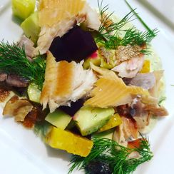 Smoked Trout, Beet & Apple Salad with Trout Grebenes