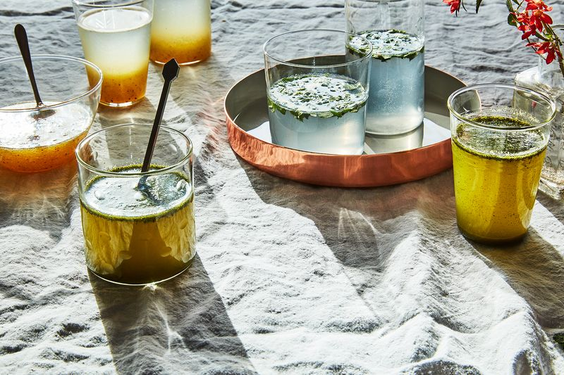 From front to back: jaljeera; nimbu pani (on tray); aam ki shikanji.