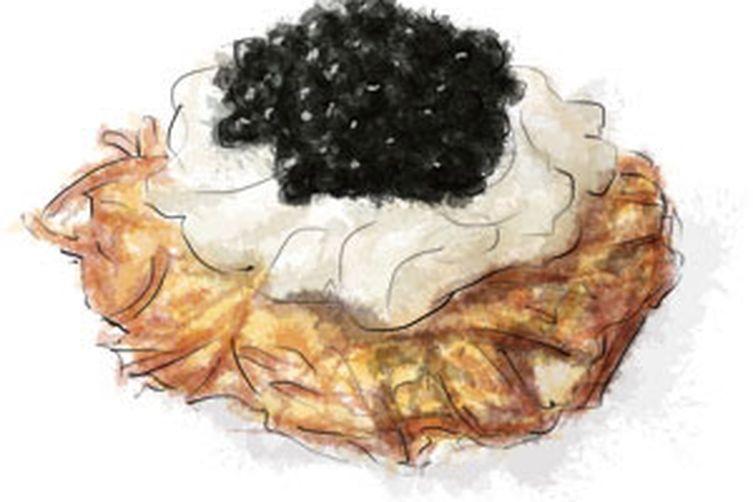 Mini Potato Rosti with Caviar and Sour Cream