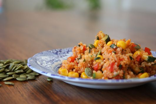 Tomato Quinoa with Zucchini Red Pepper and Corn