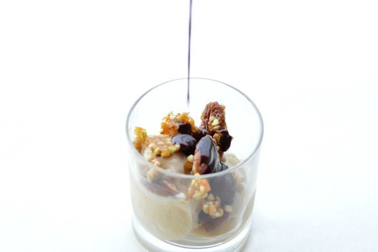 Banana,chocolate and buckwheat sundae