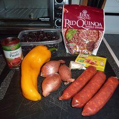 Black Bean, Quinoa and Chorizo skillet