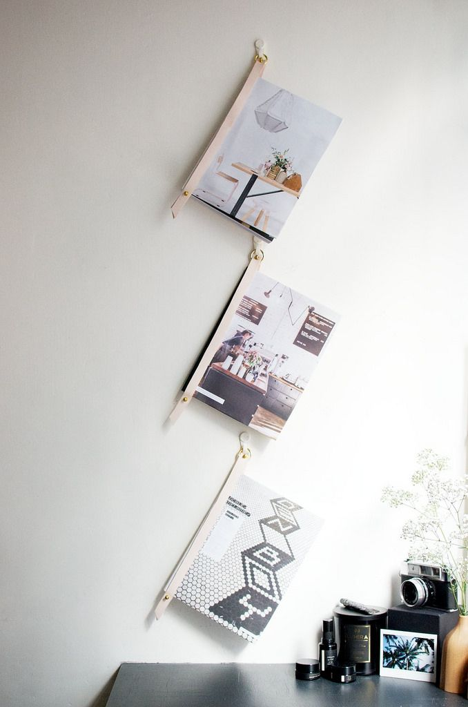 Geneva from a pair and a spare shares a leather magazine for Diy hanging picture display