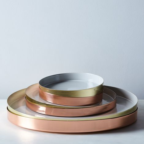 Hawkins New York x Food52 Copper, Brass, and Grey Enamel Louise Trays