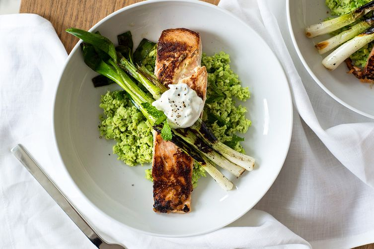 Tzatziki Marinated Salmon with Edamame Mint Mash and Charred Scallions