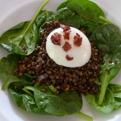 French Lentil Caviar Salad with a Poached Egg