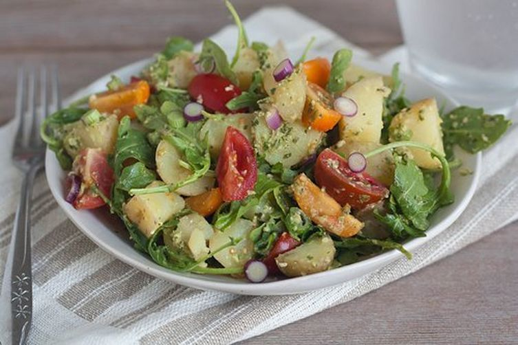 Tomato, Arugula, and Fingerling Potato Salad with Green Olive Pesto