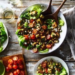 Panzanella with Marinated Chickpeas and Chimichurri