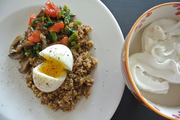 quinoa with sauteed vegetables & soft cooked egg