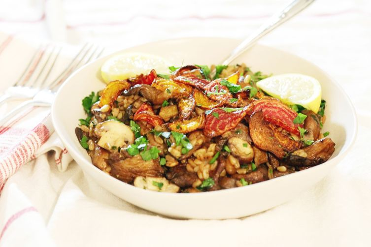 Warm Farro with Mushrooms and Crispy Beets