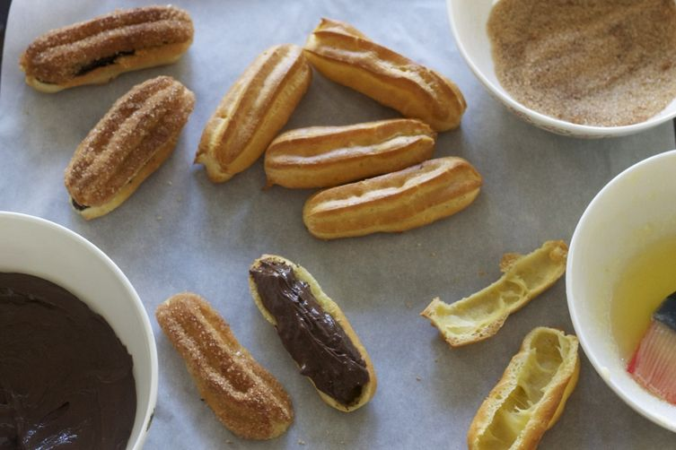 Churro-inspired Eclairs with Spicy Chocolate Pastry Cream