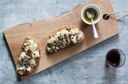 Cauliflower Crostone with Anchovy and Caper Sauce