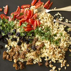 Israeli Couscous with Figs, Olives and Tomatoes