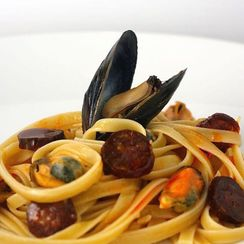 Fettuccine with Mussels, Chorizo, and Lemon Butter