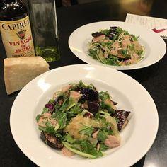 Spaghetti Squash with Roasted Eggplant, Fresh Zucchini, Capers, and Italian Tuna