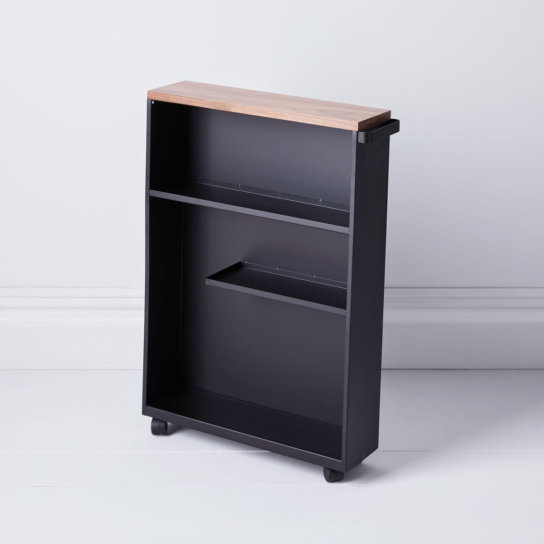 Yamazaki Wood Amp Steel Slim Storage Cabinet White Amp Black